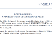 Newsletter: Investing in Spain: a privileged way to obtain residence permit