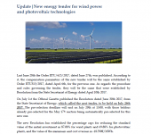 Newsletter update: New energy tender for wind power and photovoltaic technologies